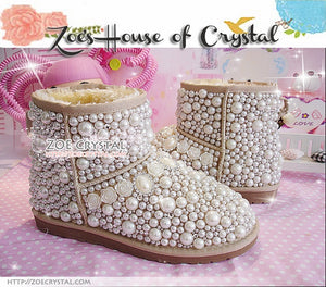 Winter Promotion Bling and Sparkly Elegant White SheepSkin Wool Boots w Pearls and Crystals