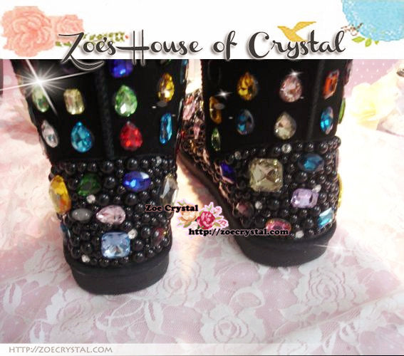PROMOTION: WINTER Bling and Sparkly Black SheepSkin Wool Boots w Black Pearls embroided with Colorful Czech / Swarovski Rhinestones