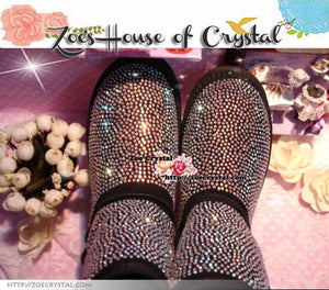 PROMOTION WINTER Bling and Sparkly Strass Black SheepSkin Wool BOOTS w shinning Crystals