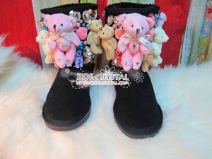 PROMOTION WINTER Bling and Sparkly Black SheepSkin Wool BOOTS w Cute Bear Bear and Big Stones