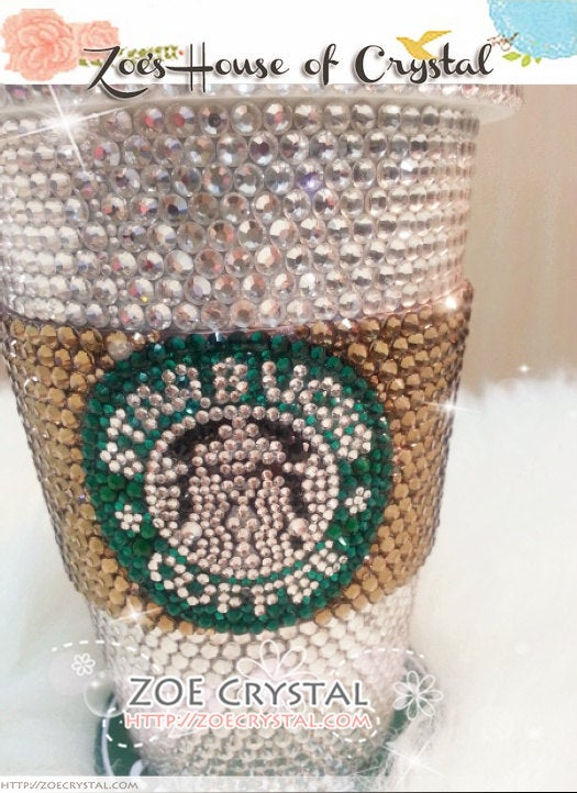 BLING  Bedazzled STARBUCKS Coffee Cup / Mug / Tumbler Glitter Sparky Shinny with Swarovski Crystal Rhinestone Diamond - with Cozy