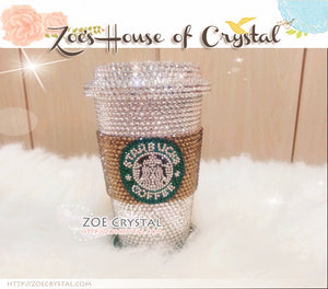 Stylish BLING Crystallized STARBUCKS Ceramic Cups with Brown Cozy