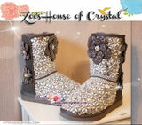PROMOTION: WINTER Bling and Sparkly Grey SheepSkin Wool Boots w  white Bean Pearls and Crystals