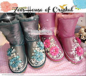 PROMOTION: WINTER Bling and Sparkly Leather SheepSkin Wool Boots w Flowers and Pearls