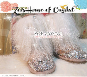 PROMOTION: WINTER Bling and Sparkly White Curly Fur SheepSkin Wool Boots w Crystals and Big STONES