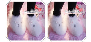 Promotion - WINTER White Fur Rabbit liked Wool / Winter Boots w Czech / Swarovski Crystals