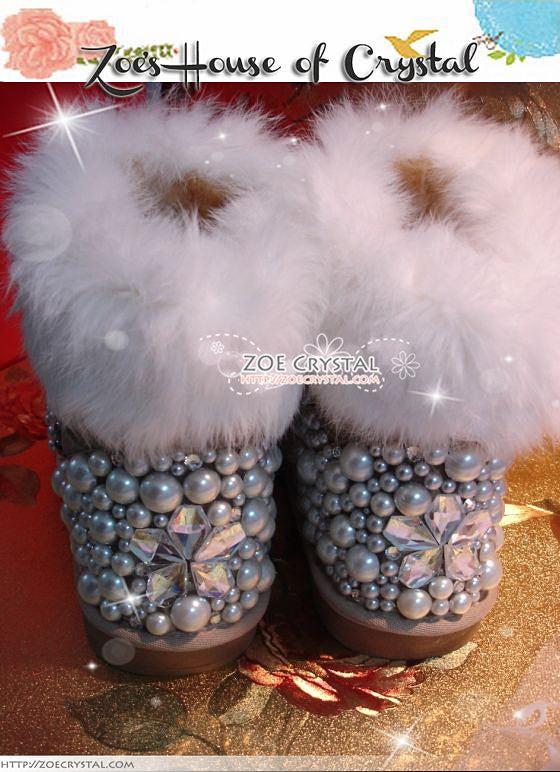 PROMOTION WINTER Bling and Sparkly White Rabbit Fur SheepSkin Winter BOOTS w shinning Czech or Swarovski Crystals and Pearls