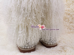 PROMOTION: WINTER Bling and Sparkly Tall White Curly Fur SheepSkin Wool Boots w Pearls and Crystals