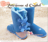 NEW STYLE -  Bling and Sparkly Blue SheepSkin Wool BOOTS w shinning Czech or Swarovski Crystals