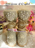Winter Sales-  Bling and Sparkly Bailey SheepSkin Wool BOOTS with Creamy white in Elegant Style-
