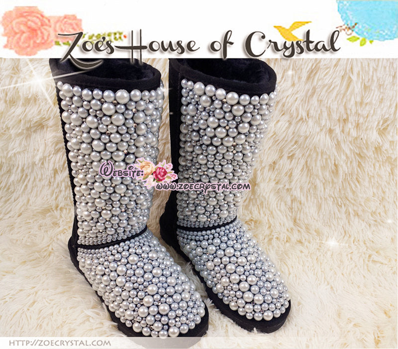 PROMOTION WINTER Bling and Sparkly Black Tall SheepSkin Wool BOOTS w Creamy white pearls