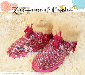 PROMOTION WINTER Bling and Sparkly Pink Cuff SheepSkin Stras Wool BOOTS w shinning Czech or Swarovski Crystals