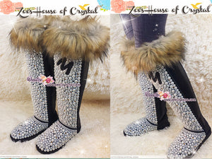 PICK YOUR INITIAL Knee High Bling and Sparkly Brown Fur Black SheepSkin Wool Boots w elegant Pearls and Your Favorite Initial