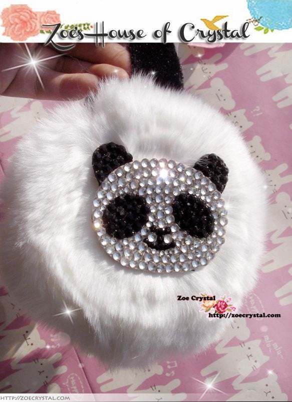 WINTER Bling and Sparkly Rabbit Fur EARMUFFS With Crystal Panda or Smiley