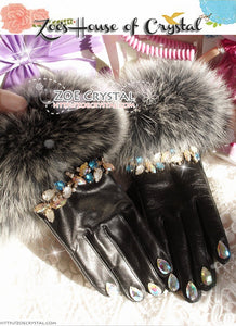 WINTER Sales- Black Leather Fur GLOVES with Elegant Rhinestones and Crystals