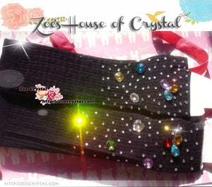 WINTER Black Wool ARM WARMERS with Rhinestones and Crystals