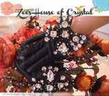 WINTER Sales- Black Leather Bow GLOVES with Elegant Crystals