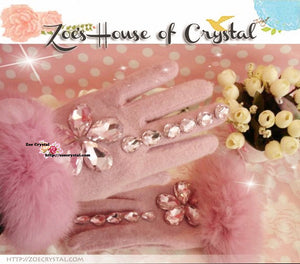 WINTER Sales- Pink Wool GLOVES with Big Elegant Rhinestones