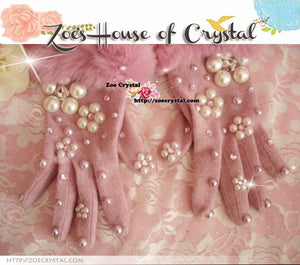 WINTER Sales- Pink Wool GLOVES with Big Elegant Pearls
