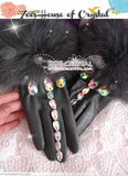 WINTER Sales- Black Leather Fur GLOVES with Elegant Rhinestones