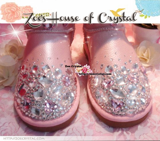 New **PROMOTION WINTER Pink Sheepskin FleechWool Boots with shinning and Princess CRYSTALS Pearls