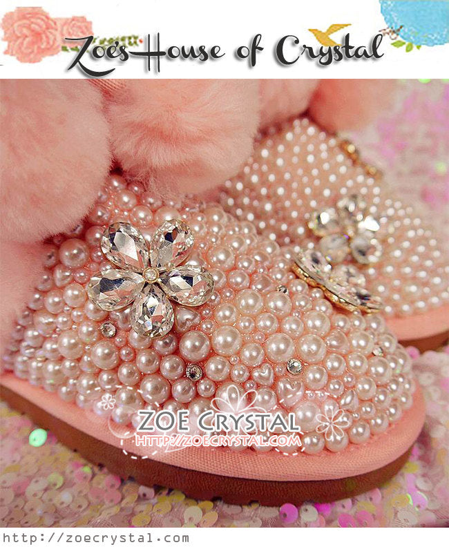 Winter Sales-  Bling and Sparkly Fur Balls Pink Winter Wool BOOTS with Creamy white Pearls in Elegant Style-