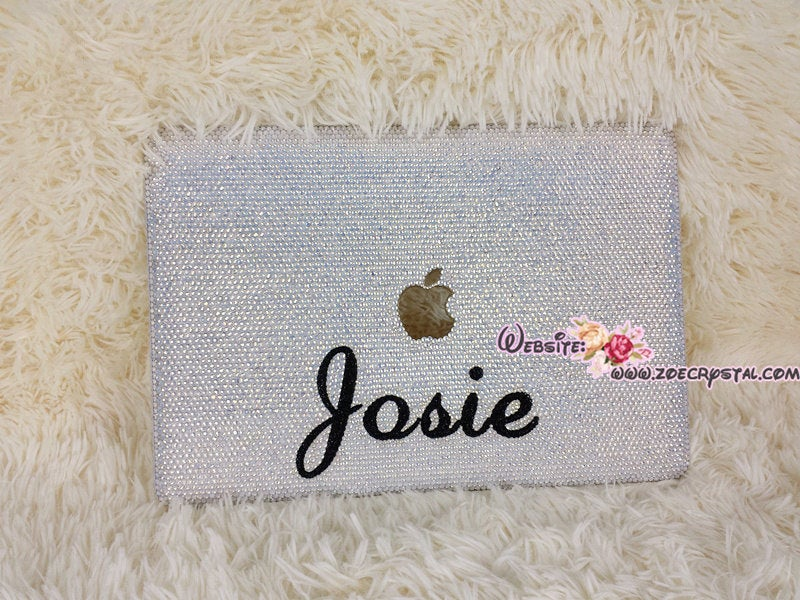 MACBOOK Case / Cover in OPAL WHITE Crystals Rhinestones (Air /Pro) Celeb Kylie Jenner Kim Kardashian Luxurious