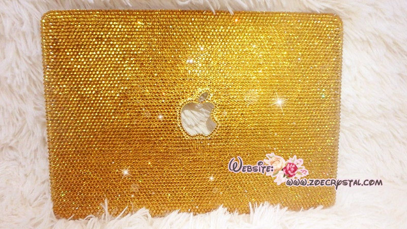 MACBOOK Air Pro Case Cover w Gold Bedazzled Sparkly Shinny Crystal Rhinestones Kim Kardashian Kylie Jenner Celebrities