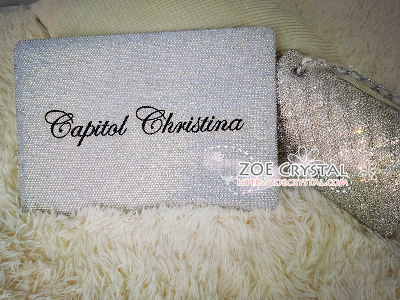 Customized MACBOOK Case / Cover in OPAL WHITE Crystals (Air/Pro/Retina)  Add Name or Words