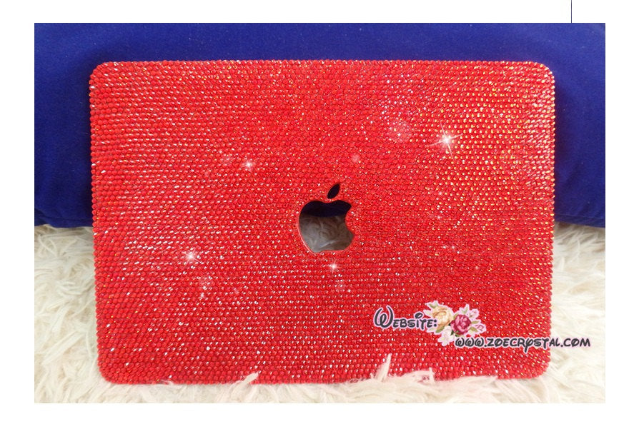 MACBOOK Case Kim Kardashian Kylie Jenner in Red Crystal Rhinestone Glitter Sparky Shinny Bedazzled