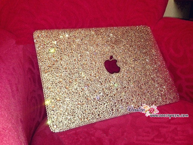MACBOOK Air Pro Case Cover Clear White Swarovski Crystal Rhinestone Strass Glitter Sparkly Shinny Bejeweled