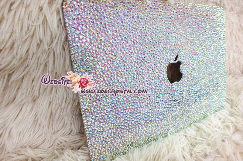 MACBOOK Air Pro Case / Cover in Aurora Borealis White Crystal Rhinestone Random Bejeweled Sparkly Shinny Glitter