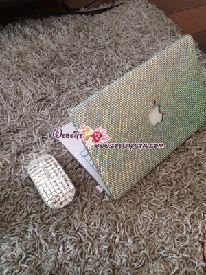MACBOOK Air Pro Case Bedazzled Sparky AB white Rhinestone Crystal  Kim Kardashian