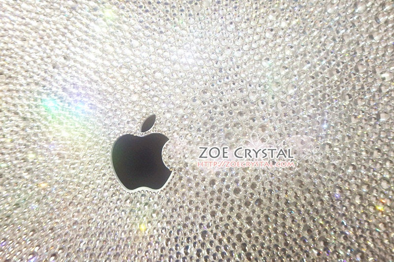 MACBOOK Case / Cover in CLEAR WHITE Crystals Random Sizes Pattern (Air/Pro/Retina)Add Name or Words