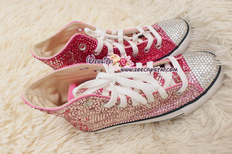 f9381a8dc99 Bling CONVERSE Chuck Taylor All Star SNEAKERS with Fuchsia and Pink Crystal