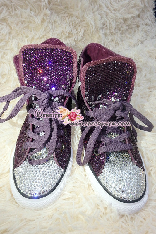 c0b7fd2f3e0 Bling CONVERSE Chuck Taylor All Star SNEAKERS with Purple Crystal ...