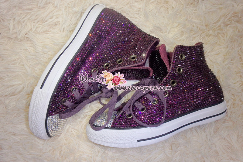 Bling CONVERSE Chuck Taylor All Star SNEAKERS with Purple Crystal