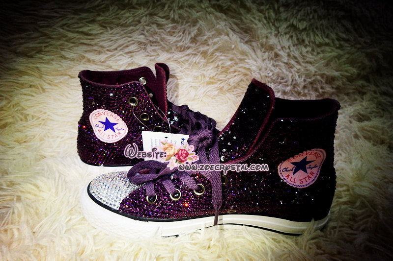 396d807c981 Bling CONVERSE Chuck Taylor All Star SNEAKERS with Purple Crystal