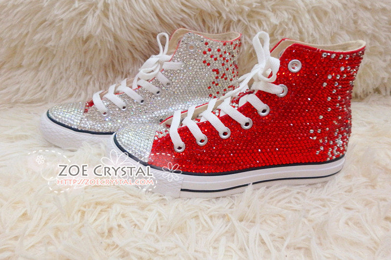 Bling CONVERSE Chuck Taylor All Star SNEAKERS with Red and Clear White  Crystal a8d757593