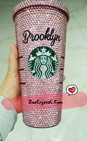 Stylish BLING Crystallized STARBUCKS Cold Cup Light Pink