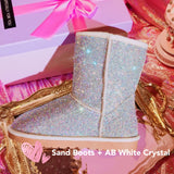 Super Bling and Sparkly Middle High SheepSkin Wool BOOTS w shinning Czech crystals