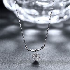 Heart Zircon Silver Necklace Pendant 925 Sterling Silver