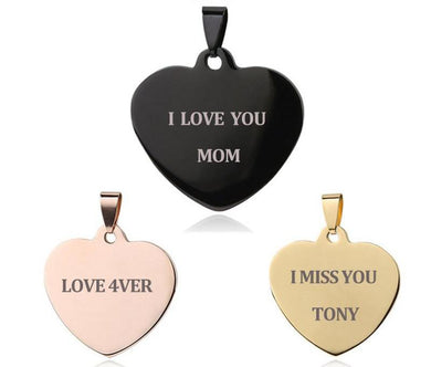 Heart Shaped Necklace Pendant with Name Engraving