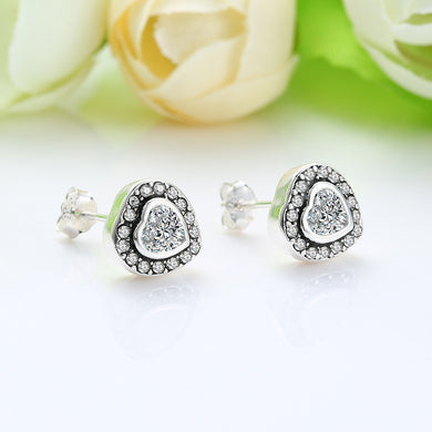 Heart Shaped Stud Earrings 925 Sterling Silver (2 pcs)