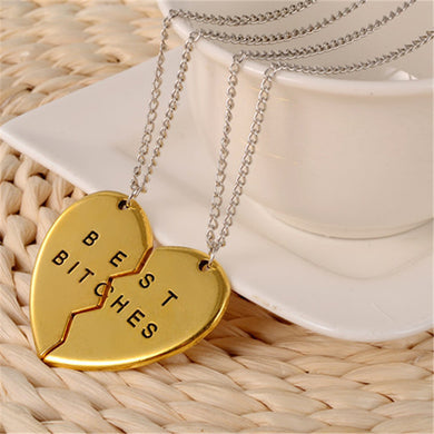 BEST FUCKING BITCHES Heart Shaped Necklace Pendant for Two