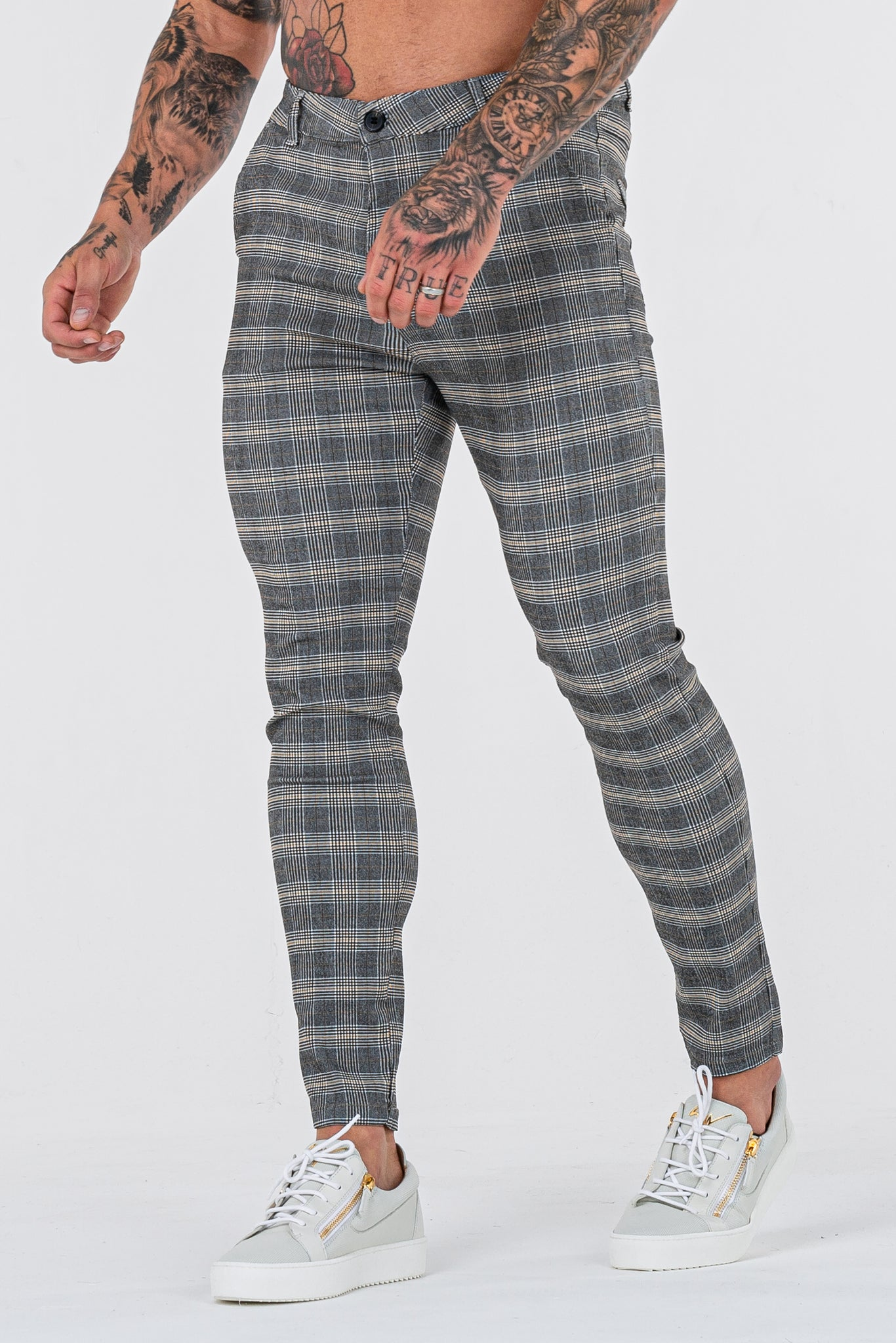 THE SIGNATURE TROUSERS - GREY/CREAM
