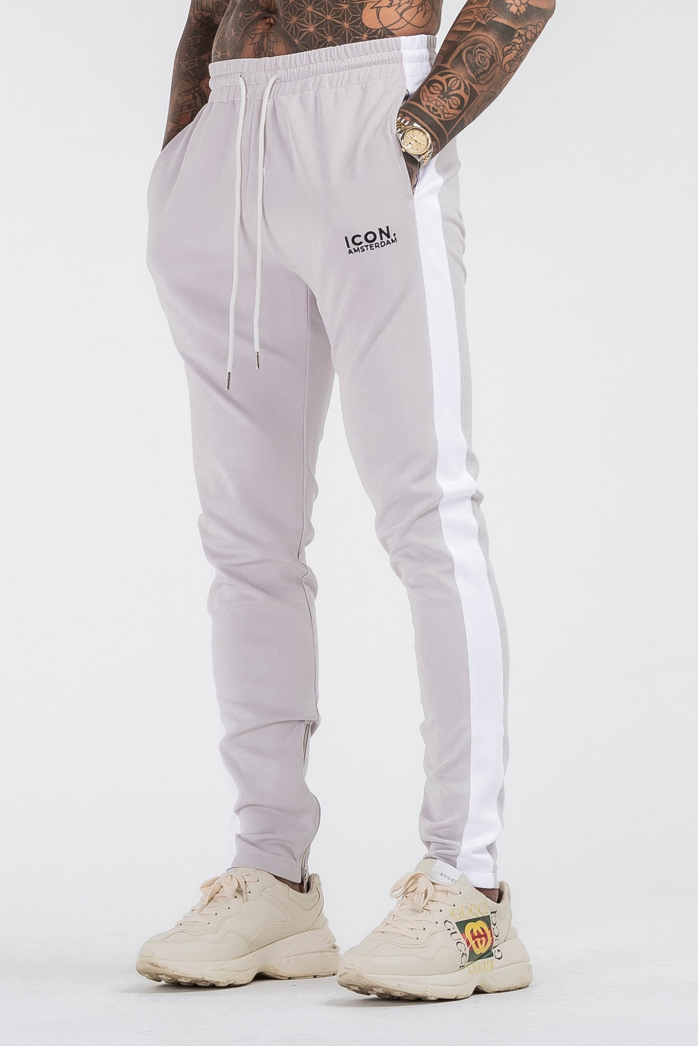 THE ICONIC TRACK PANTS - LIGHT GREY - ICON. AMSTERDAM