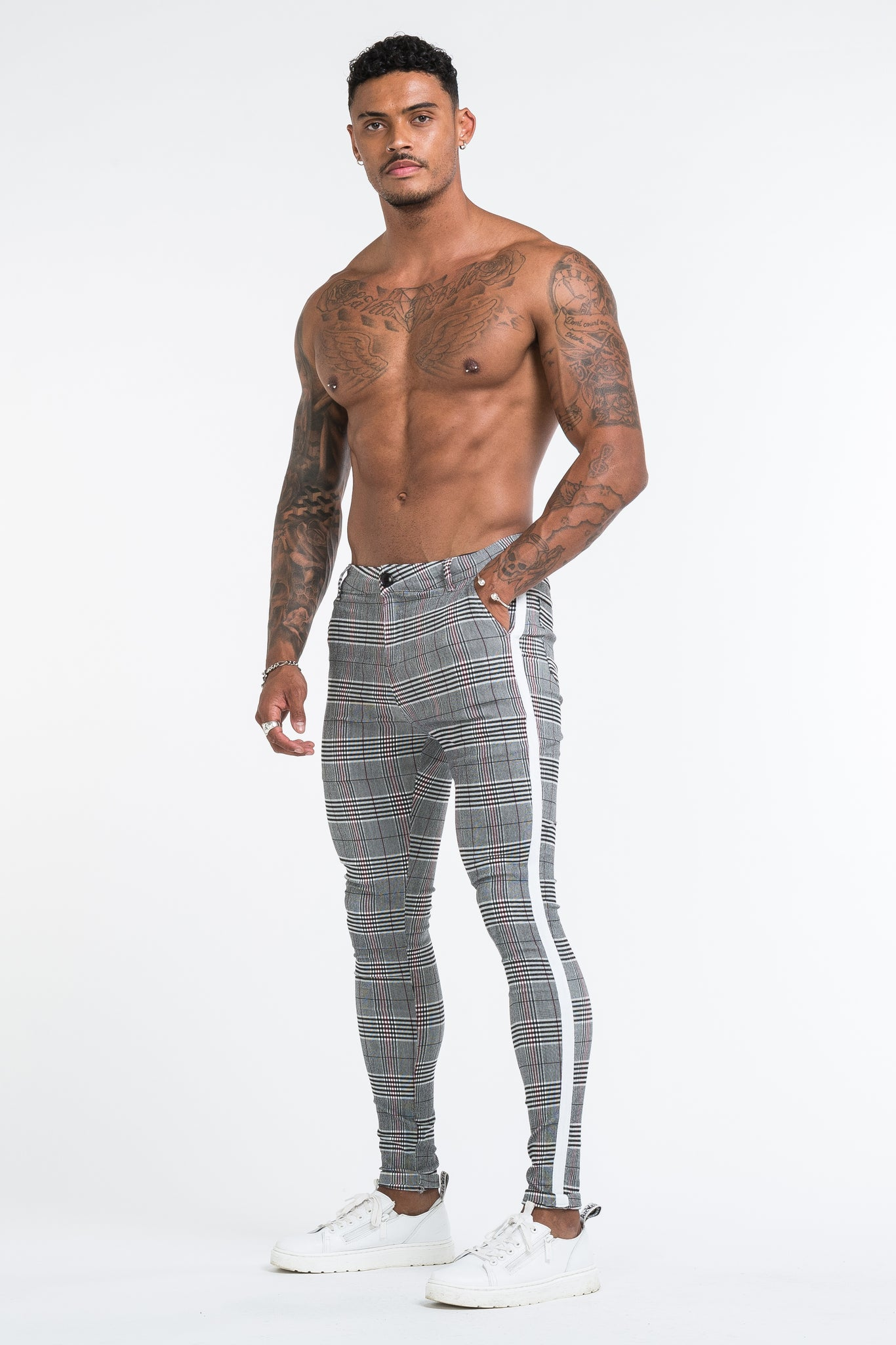 THE VIERA TROUSERS - GREY/WHITE