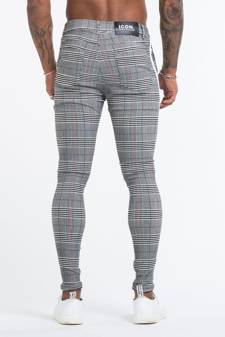THE VIERA TROUSERS - GREY/WHITE - ICON. AMSTERDAM