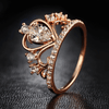Rose Gold Crystal Heart Crown Rings